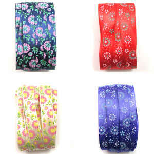 SATIN-RIBBON-16mm-FLORAL-SINGLE-SIDED-4-COLOURS-CRAFTS-DRESS-MAKING-EDGING