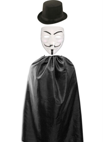 "Fancy Dress Accessory Anonymous V For Vendetta Mask 48/"" Black Cape Hat Adult"