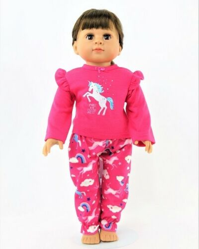 """Doll Clothes 18/"""" Pajamas Unicorn Pink Fits American Girl Doll"""