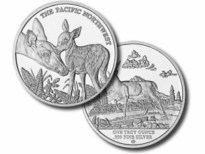 1-oz-Buck-Round-999-Fine-Silver-Bullion-White-Tail-Deer-Doe-Fawn-CAPSULE