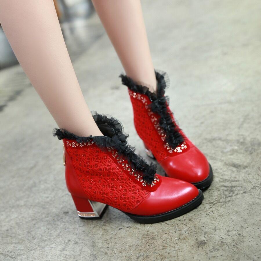 US4-15 Bloque de Mujer Gladiador Zapatos Zapatos Zapatos botas al Tobillo malla de encaje cristal Tacones Cremallera Punk  entrega rápida