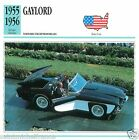 GAYLORD 1955 1956 CAR VOITURE UNITED STATES ÉTATS UNIS CARTE CARD FICHE