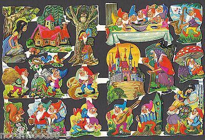 GNOMES GARDEN PLAY NATURE ELF FAIRY SPRITE  SCRAP ENGLAND EMBOSSED PAPER
