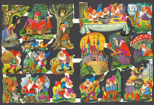VINTAGE NOS FAIRYTALE ENGLAND DWARFS SNOW WHITE WITCH ELVES STORY PAPER EMBOSSED