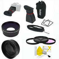 3 Lens Kit Wide Angle Telephoto Zoom + Lcd Viewfinder +hd Filter Kit For Nikon