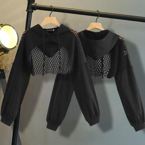 Women Mesh Splicing See Through Crop Top Hoodie Sweatshirt Long Sleeve Hot