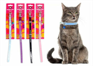 Pet-Cat-Kitten-Crystal-Diamante-Collar-PU-Leather-Safety-Buckle-amp-Warning-Bell