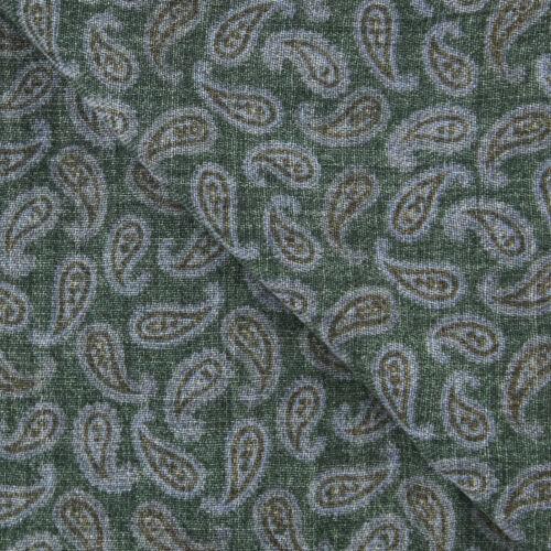 "26/"" x 76/"" $375 Luigi Borrelli Dark Green Paisley Long Scarf SCRVBLUEPAIDX7"