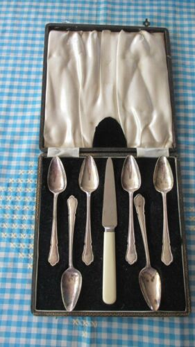 Vintage Boxed silver plated fruit spoons & faux bone handled knife, set