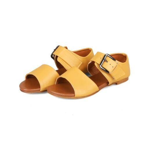Mujeres Hebilla Plana Sandalias Informales sólido Low Top de Moda Playa Punta Abierta Zapatos