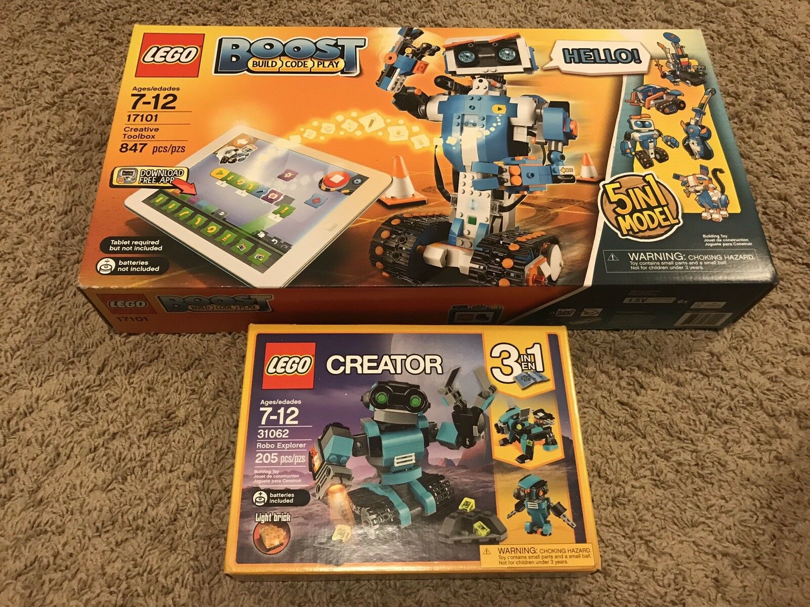LEGO 17101 BOOST CREATIVE TOOLBOX + 31062 Creator Robot Explorer 3 in 1