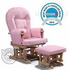 PINK SUPREMO BAMBINO Nursing Glider Rocking Recliner Maternity Chair With Stool