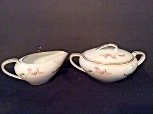 Vintage-Porcelain-Covered-Sugar-Bowl-amp-Creamer-set-white-pink-flowers-gold-trim