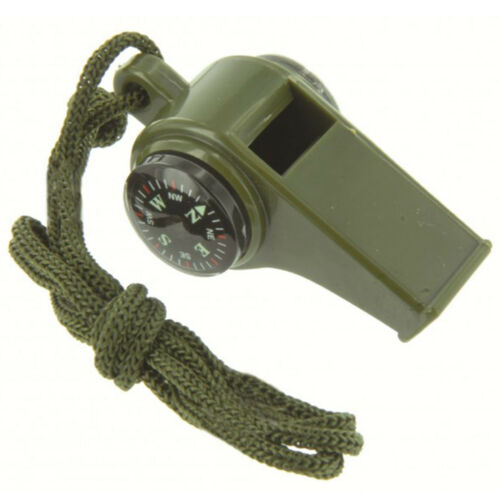 Highlander Ranger Military Survival Whistle with Button Compass /& Thermometer