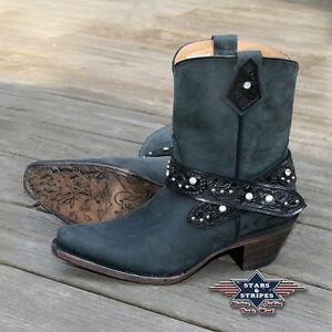 Damen Stiefelette Braun Country Western Cowboy-Stiefel Ankle Boots »WBL-26« S/&S
