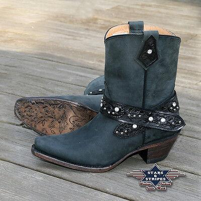 Damen Stiefelette Schwarz Country Cowboy-stiefel Western-boots Ankle Wbl-20 S&s Kaufe Jetzt