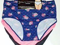 3 Lady Princess Navy W/floral, Coral ,black Microfiber Brief Panties 2x