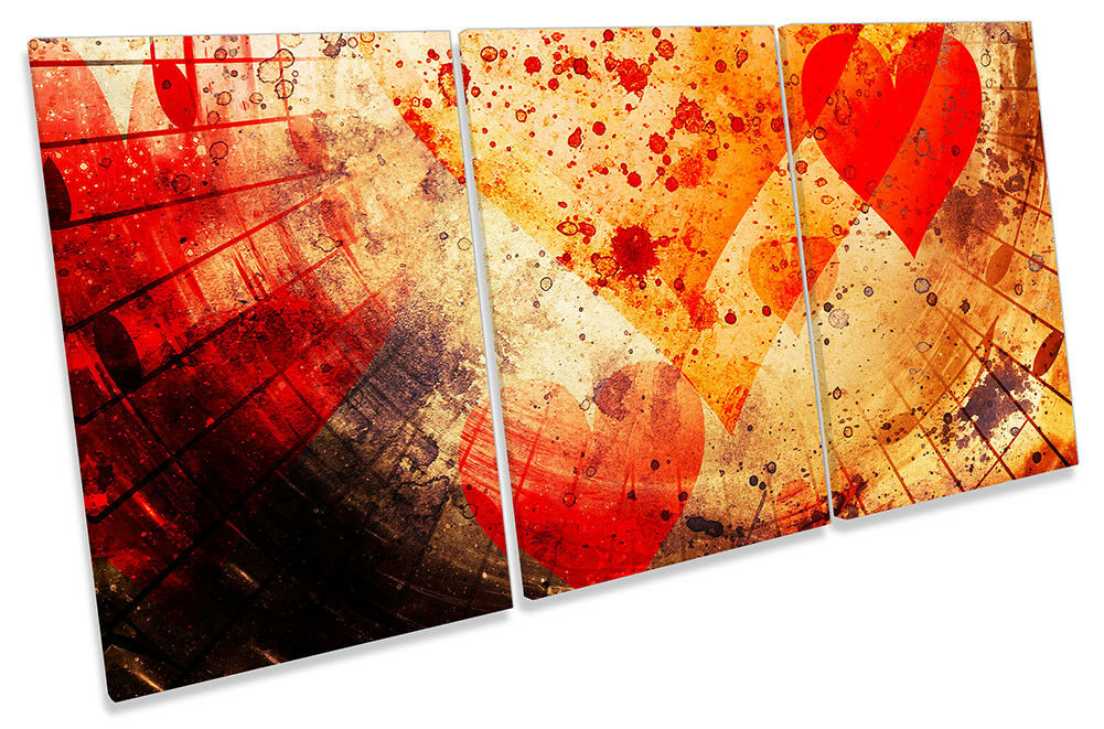 Abstract rot Heart Music Notes Picture CANVAS WALL ART TREBLE Print