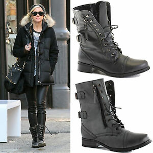LADIES-WOMENS-COMBAT-ARMY-MILITARY-BIKER-FLAT-LACE-UP-WORKER-ANKLE-BOOTS-SIZE