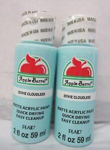 Apple-Barrel-Matte-Acrylic-Craft-Paint-by-Plaid-Clouldless-Blue-2-oz-Lot-of-2