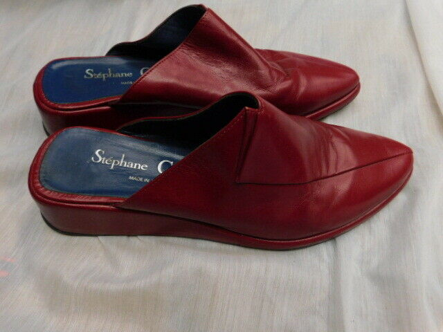 Zapatos de Cuero Stephane Gontard París Cuña Francia Cuña París Mulas De Cuero Rojo Oscuro 8 8.5 954731