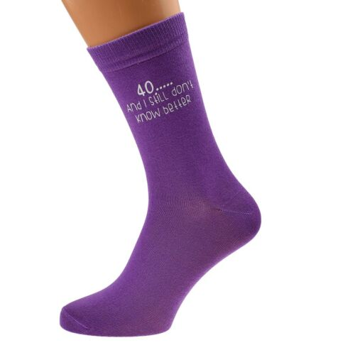 40 and I Still Don/'t Know Better Printed Ladies Purple Socks 40th Birthday