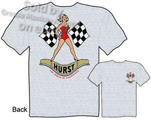 Hurst-T-Shirt-Flag-Girl-Racing-Apparel-Hot-Rod-Clothing-Tee-Automotive-Shirt