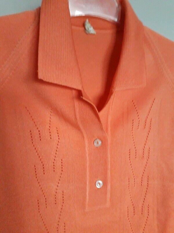 Vintage 60s  Sportswear Cardigan Sweater  Apricot… - image 8