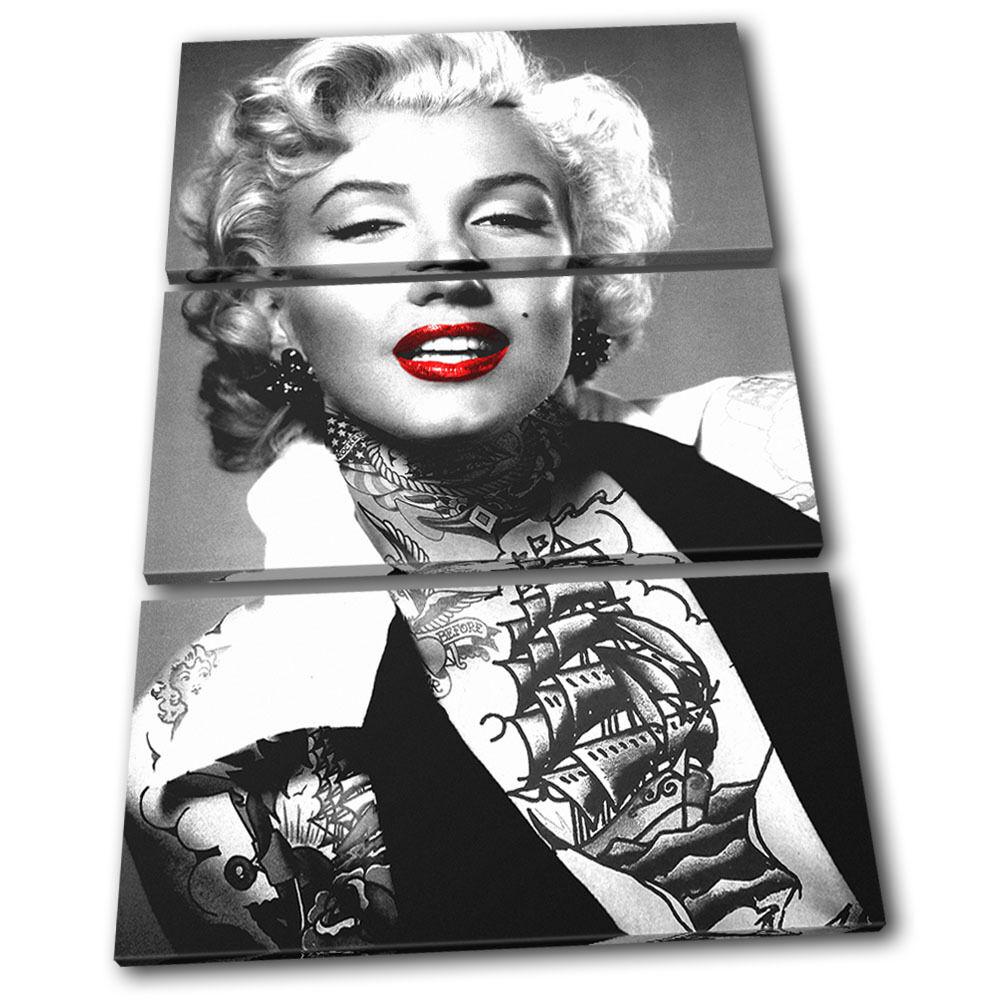 Monroe Tattoo  Iconic Celebrities TREBLE Leinwand Wand Kunst Bild drucken