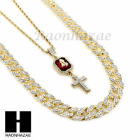 Iced Out Lab Diamond 30 Cuban Chain Red Ruby Prayer Hand Cross Necklaces Set2