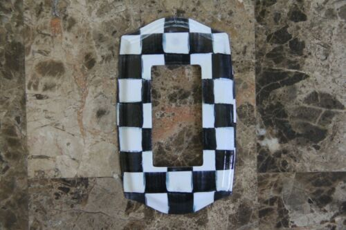 ❤️Single Rocker Light Switch Plate made w//Mackenzie Childs Courtly Check Paper❤️