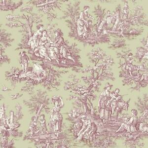 Wallpaper Waverly Country Life Toile Purple Cream on Gray ...