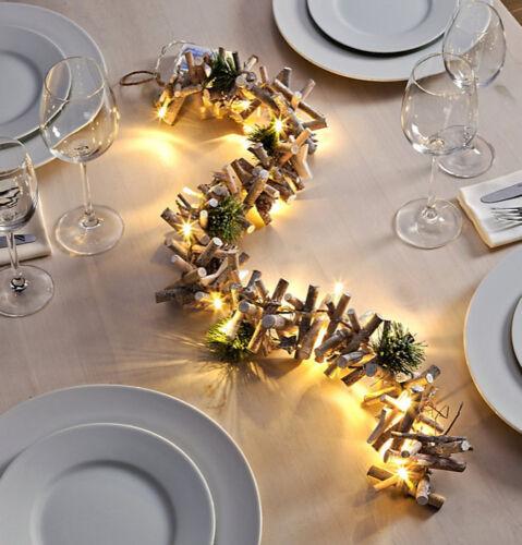 LED Lichterkette Tischdeko Weihnachtsbeleuchtung Holz Äste Weihnachtsdeko NEU