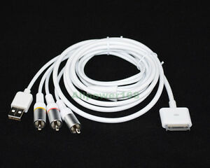 ROCKETFISH COMPOSITE AV/USB CABLE for iPhone 4 4S iPad Touch Nano TV ...