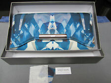 ALEXANDER McQUEEN KALEIDOSCOPE CRYSTAL PRINT SATIN AND LEATHER CLUTCH BAG - NEW