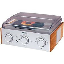 Home Turntable Radio Am FM Audio System Music Stereo Record Player 3 Speed Retro