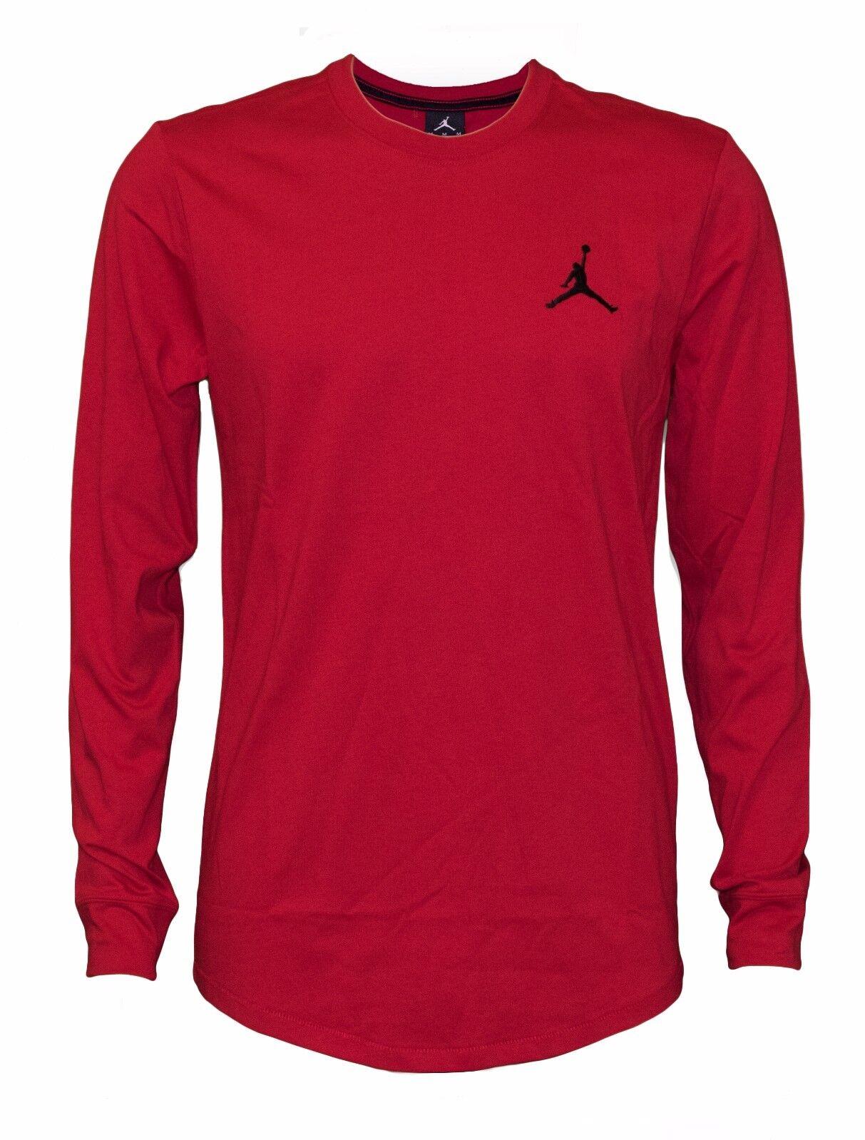 2e8e84ec364e Nike Men s Air Jordan Embroidered Jumpman Shooting Long Sleeve Red T-Shirt