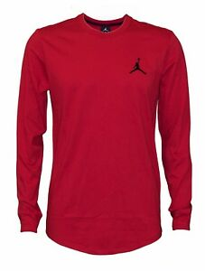 ef32a07e Nike Men's Air Jordan Embroidered Jumpman Shooting Long Sleeve Red T ...