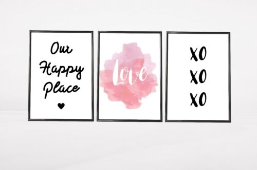 Set of 3 Love Happy Place Watercolour Home Quote Wall Art Prints Pink /& Black