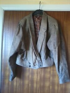 womens-Leather-short-Jacket-size-12-Brown-Distressed-Look