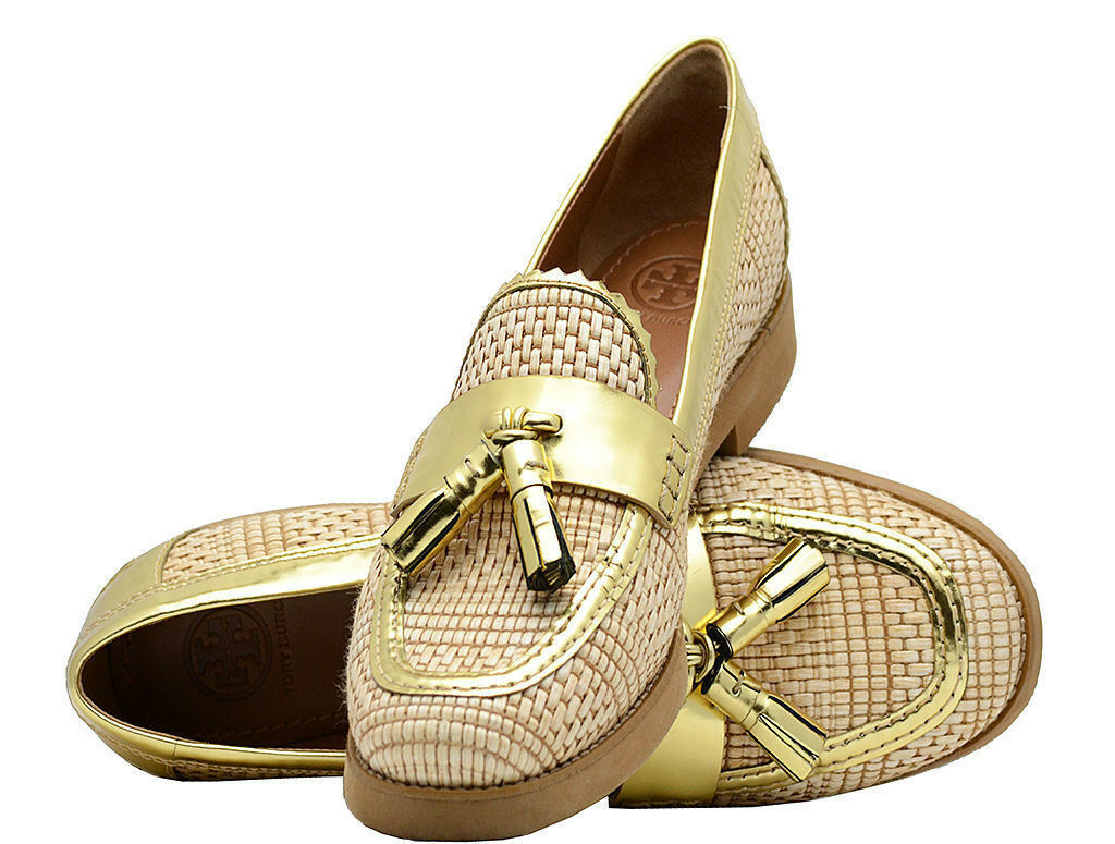 Tory Burch Shoes Raffia Careen Woven Loafers w/ Gold Pelle Tassel-Size 6.5