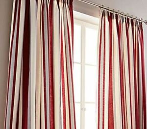 Image result for red cream stripe curtain