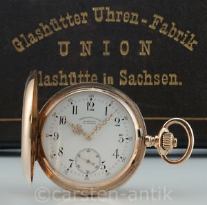 Uhrenfabrik-Union-Glashuette-i-S-14k-Gold-Savonette-Taschenuhr-original-Box-1895