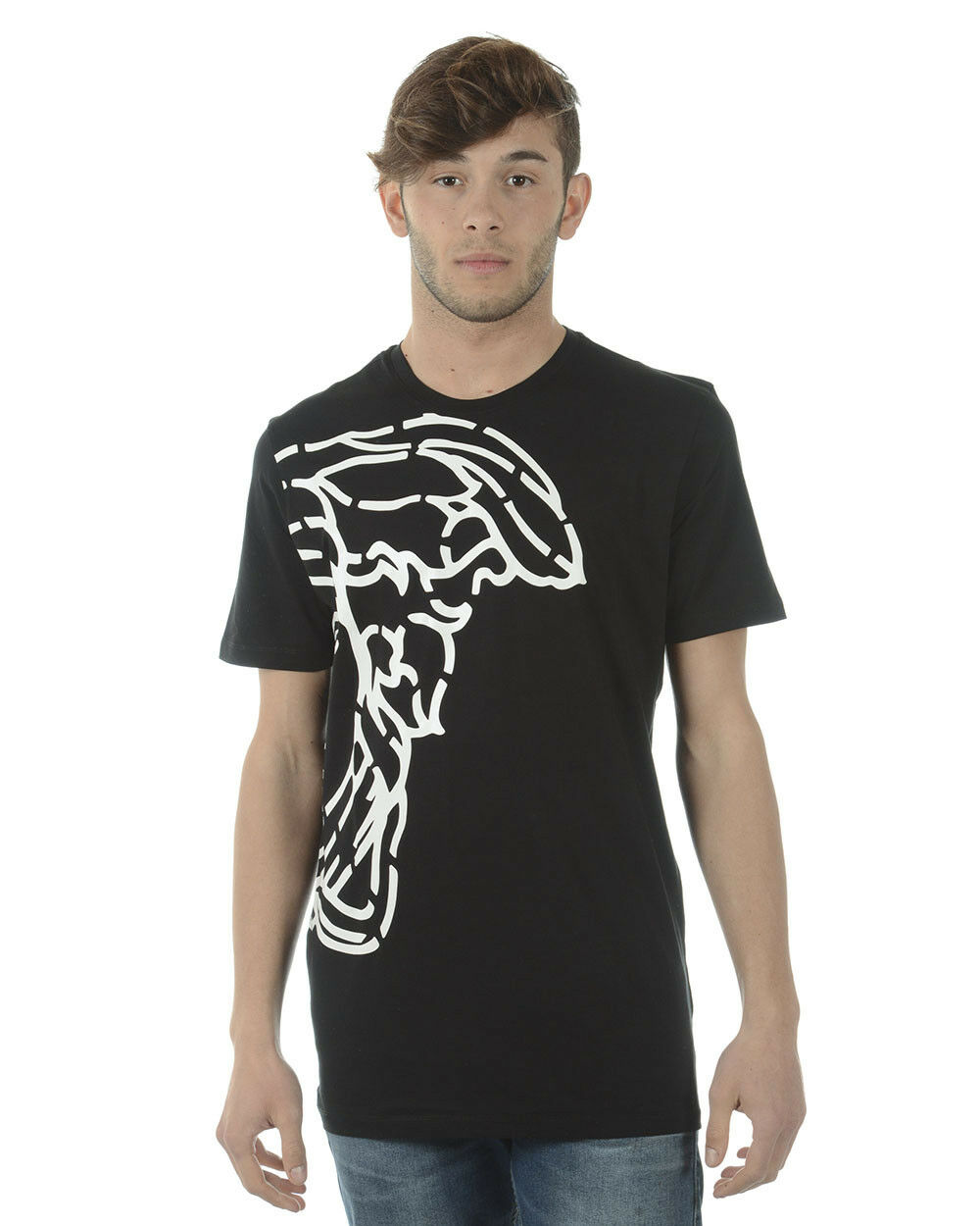 T shirt Versace Collection Sweatshirt Cotone  Herren Nero V800683SVJ00359 V7008