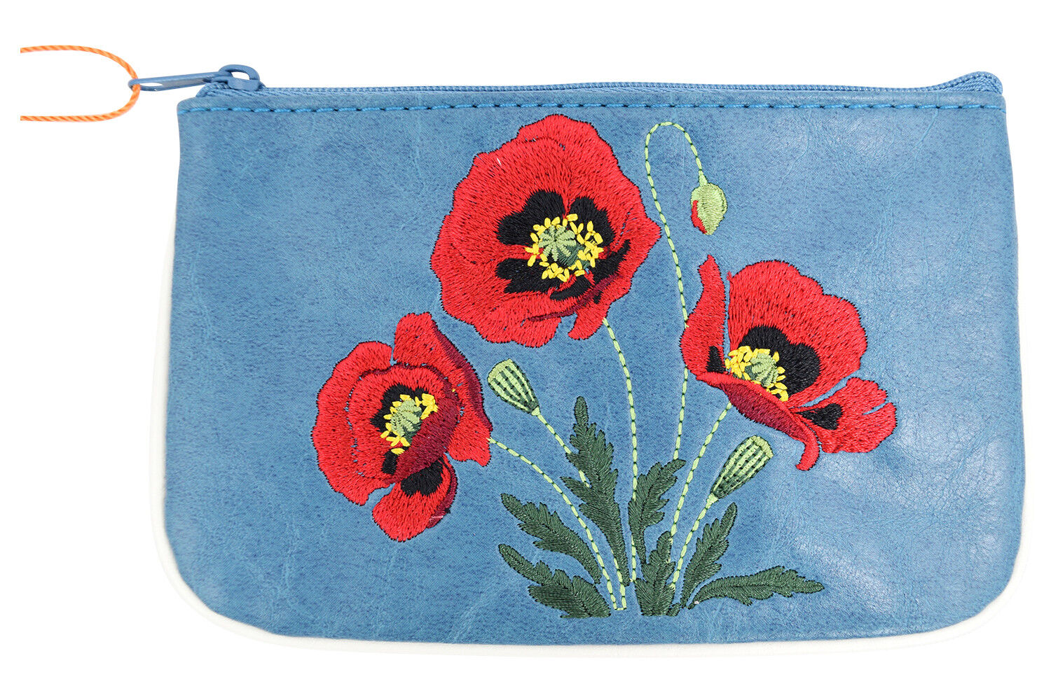 Lavishy Red Poppy Flower Embroidered Small Flat Coin Pouch Coin Purse
