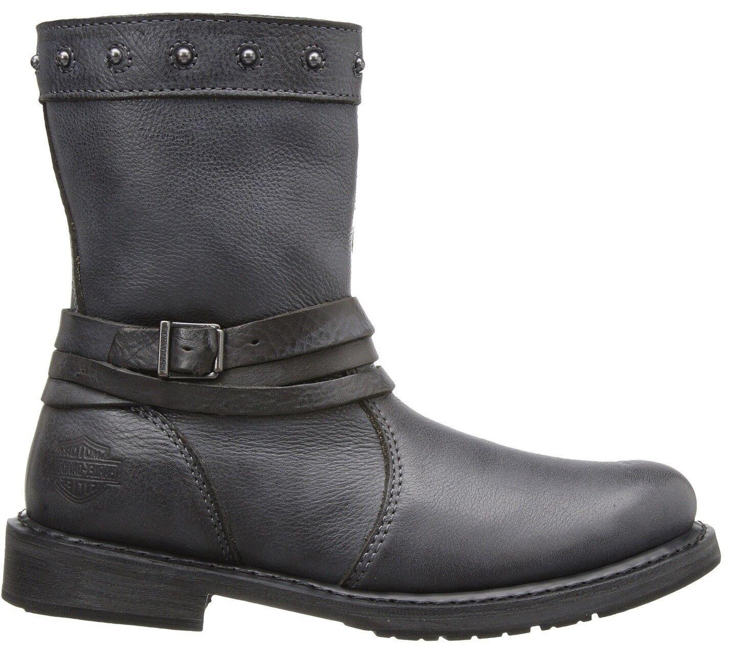 Harley Davidson Ladies Mandy Grey Slate Leather Boot  Biker Boots Straps Rider