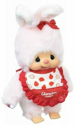Monchhichi Chimutan I Love Strawberry Bunny M Size 34cm Plush ~~ NEW ARRIVAL ~~