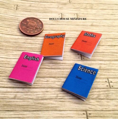 Cuatro libros de ejercicio escolar Surtidos, miniaturas, libros de casa de muñecas escala 1.12th