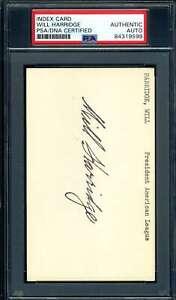 William Harridge PSA DNA Coa Autograph Hand Signed 3x5 Index Card