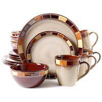 16-piece Dinnerware Set Kitchen Dinner Dishes For 4, Plates Beige And Brown